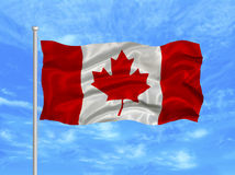 Canada Flag. Illustration of waving Canadian flag on blue sky Stock Image