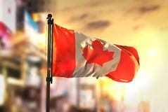 Canada Flag Against City Blurred Background At Sunrise Backlight royalty free stock image