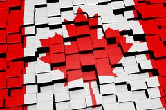 Canada flag background formed from digital mosaic tiles, 3D rendering. Modern 3D rendered concept of numerous square tiles sliding together to form the national Royalty Free Stock Images