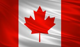 Canada flag blowing in the wind. Background texture. 3d rendering, wave. Icon Stock Photos