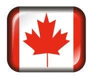 Canada Flag Button 3d effect isolated in white. Canada flag button with glass effect, isolated in white, high resolution JPG image Stock Photo