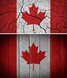 Canada Flag. Painted on old wood background Stock Photos