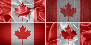 Canada Flag. Canadian fabric flags in the background. Canada Flag Stock Photo