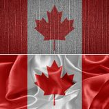 Canada Flag. Canadian fabric flags in the background. Canada Flag Royalty Free Stock Photography