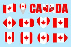 Canada flag collection. Canadian flags set. Vector flat isolated icons with state name. Traditional colors. Web, sports stock illustration