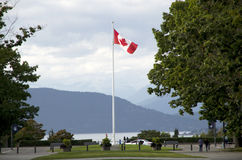 Canada flag college campus. Nice view of ocean shore with canada flag in UBC campus, Vancouver, Canada Stock Photos