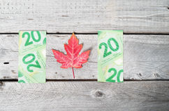 Canada flag concept with partial bank notes Royalty Free Stock Image