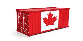 Canada flag on container. 3d illustration. Canada flag on container on white background. 3d illustration Royalty Free Stock Images