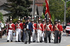 Canada Flag Day Parade Battle of Stoney Creek. Soldiers from the battle of Stoney Creek marching in the Stoney Creek Flag day parade. www.stoneycreekflagday.com Royalty Free Stock Photo