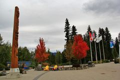 Canada flag and Fall color in Whistler, BC, Canada Stock Photos