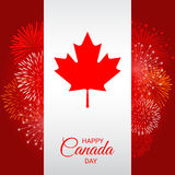 Canada flag with fireworks for national day of Canada Stock Photography