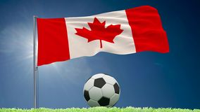 Canada flag fluttering and football rolls. Flag of Canada fluttering and a fsoccer ball rolls on the lawn, 3d rendering royalty free illustration