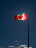 Canada Flag flying & backlit Royalty Free Stock Image