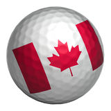 Canada flag on golf ball. Golf ball with Canada flag on white background.  object. 3d illustration Stock Images