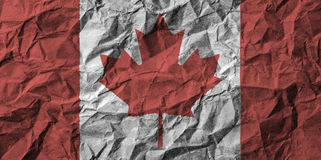 Canada flag with high detail of crumpled paper . 3D illustration Royalty Free Stock Photo