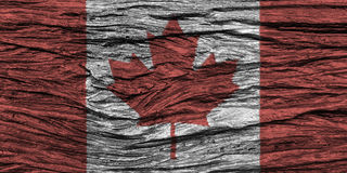 Canada flag with high detail of old wooden background . 3D illustration Royalty Free Stock Photo