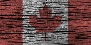 Canada flag with high detail of old wooden background . 3D illustration Stock Photography