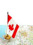 Canada flag on the map Royalty Free Stock Photo