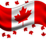 Canada flag with Maple flying for the national day of Canada. Canada flag with Maple flying for celebrate the national day of Canada Royalty Free Stock Image