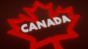 Canada flag maple leaf neon outline icon and country name Stock Photo