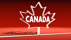 Canada flag maple leaf outline icon and country name Royalty Free Stock Images
