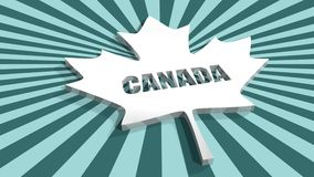 Canada flag maple leaf on sun rays background Stock Image