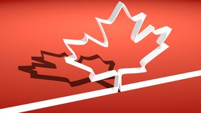 Canada flag maple leaf white outline icon Stock Photography