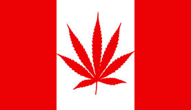 Canada flag with marijuana leaf. A rendering of the Canadian flag with a marijuana leaf Stock Images