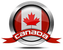 Canada Flag - Metal Icon Stock Photo