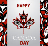 Canada flag the national day of Canada. Canada flag with native style maple leaf with aboriginal pattern national day of Canada vector background Royalty Free Stock Photos