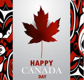 Canada flag the national day of Canada. Canada flag with real maple leaf with aboriginal pattern national day of Canada vector background Stock Image