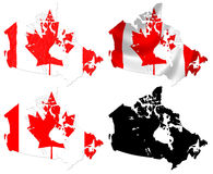 Canada flag over map Royalty Free Stock Image