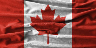 Canada flag painting on high detail of wave cotton fabrics . 3D illustration Royalty Free Stock Photography
