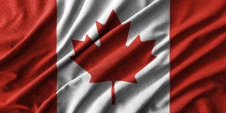 Canada flag painting on high detail of wave cotton fabrics . 3D illustration Royalty Free Stock Photos