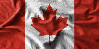 Canada flag painting on high detail of wave cotton fabrics . 3D illustration Stock Photo