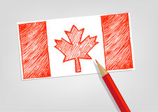 Canada Flag Sketch Style with Red Pencil Color. Editable Clip art. Royalty Free Stock Image