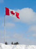 Canada Flag in Snow Bank Stock Photos