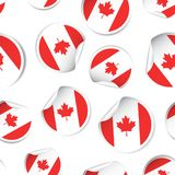 Canada flag sticker seamless pattern background. Business concep. T label pictogram. Canada flag symbol pattern Royalty Free Stock Image