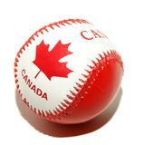 Canada flag texture on ball. Picture of canada flag texture on ball - Red and white canadian baseball ball Royalty Free Stock Photos
