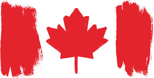Canada Flag Vector Hand Painted with Rounded Brush Royalty Free Stock Photo