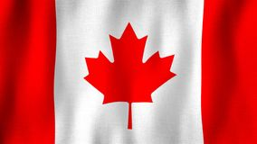Canada flag waving in the wind. Closeup of realistic Canadian flag with highly detailed fabric texture