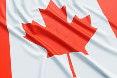 Canada flag. Wavy fabric high detailed texture. 3d illustration rendering Royalty Free Stock Image