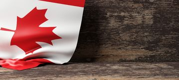Canada flag on wooden background. 3d illustration. Canada flag on a wooden background. 3d illustration Royalty Free Stock Photos