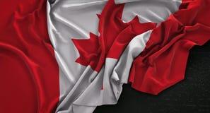 Canada Flag Wrinkled On Dark Background 3D Render. Digital Art Royalty Free Stock Photo