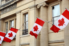 Canada flags. Close up picture of Canada flags on High Commission of Canada in the United Kingdom building in London Royalty Free Stock Images