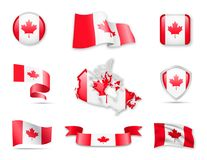 Canada Flags Collection. Royalty Free Stock Photos