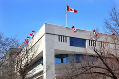 Canada Flags Embassy Pennsylvania Ave Washington DC Stock Photo