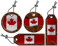 Canada Flags - Set of Wooden Labels Royalty Free Stock Photo