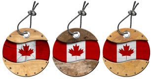 Canada Flags - Set of Wooden Labels Stock Photos