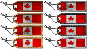 Canada Flags Set of Wooden and Metal Tags Royalty Free Stock Image